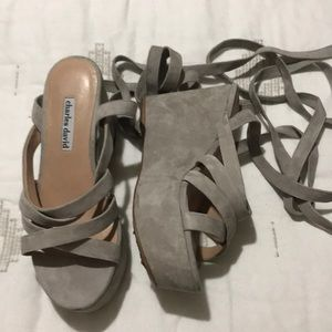 Lace up gray sandals